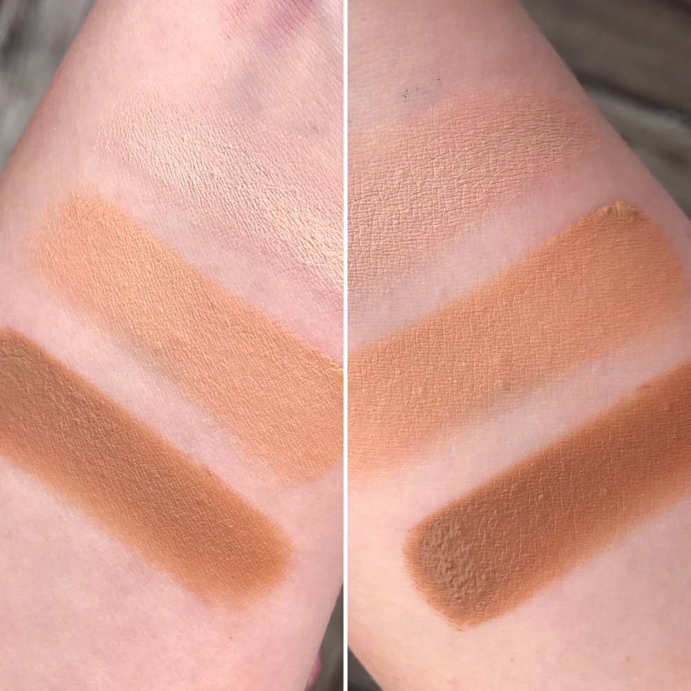 Left: Immediately after application. Right: 15 minutes after application Shades, Top to Bottom: Fair, Medium, Deep Tan