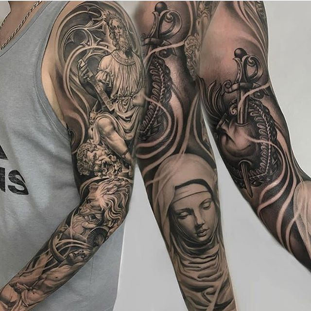 Full sleeve by Marco Vergel (@marco_vergel) #miami #tattoo #ochoplacas