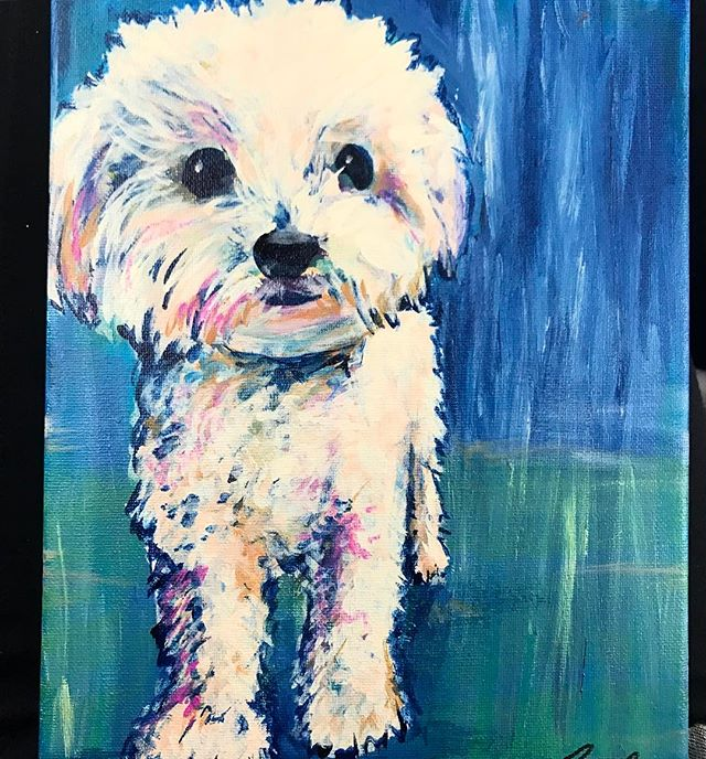 Little acrylic dog portrait