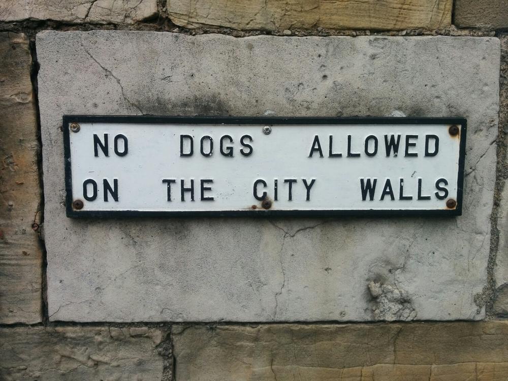 York omringas av en mur och jag tyckte den här skylten var extra rolig.