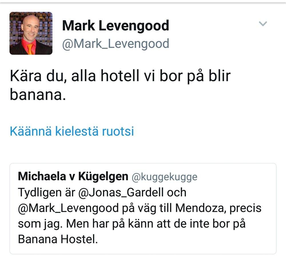 Tre sekunder av ära och berömmelse när Mark Levengood svarar på ens tweet.