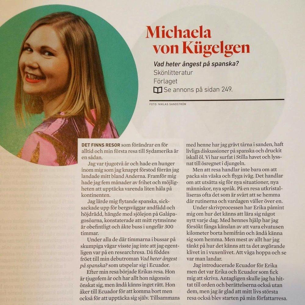 Under våren svettades jag med mitt debutantporträtt för Svensk bokhandel. Tycker det blev bra!