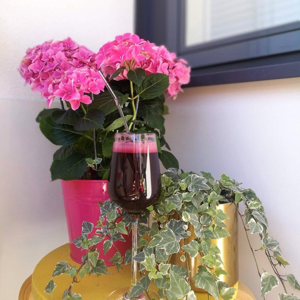 """Min lilla """"kontorshörna på balkongen."""