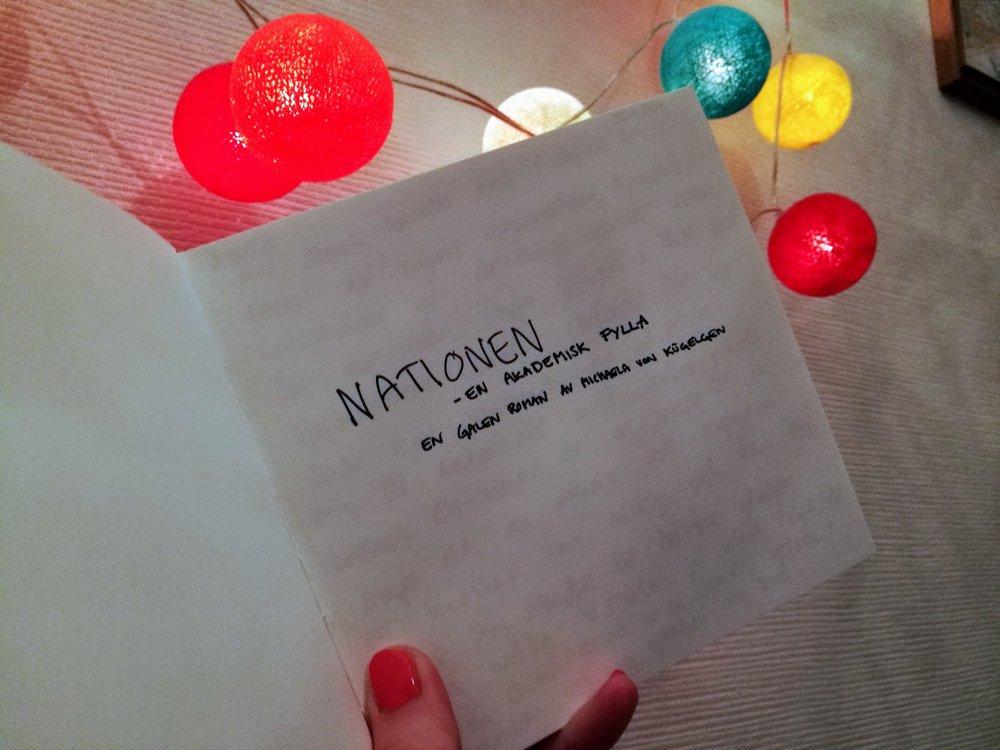 Ibland har jag bläddrat i häftet där jag skrivit första anteckningarna om Nationen. Då kallade jag projektet för: Nationen – En akademisk fylla. En galen roman av Michaela von Kügelgen. Haha alltså.