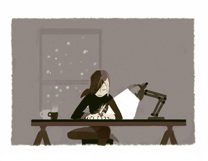 Tea, drawing and, lately… snow storm, how crazy is that? That's my night time work sessions theses days ~ Anyway, i'm starting a new (commissioned!) big film project so i'll try to update with others things than silly doodles at some point : <