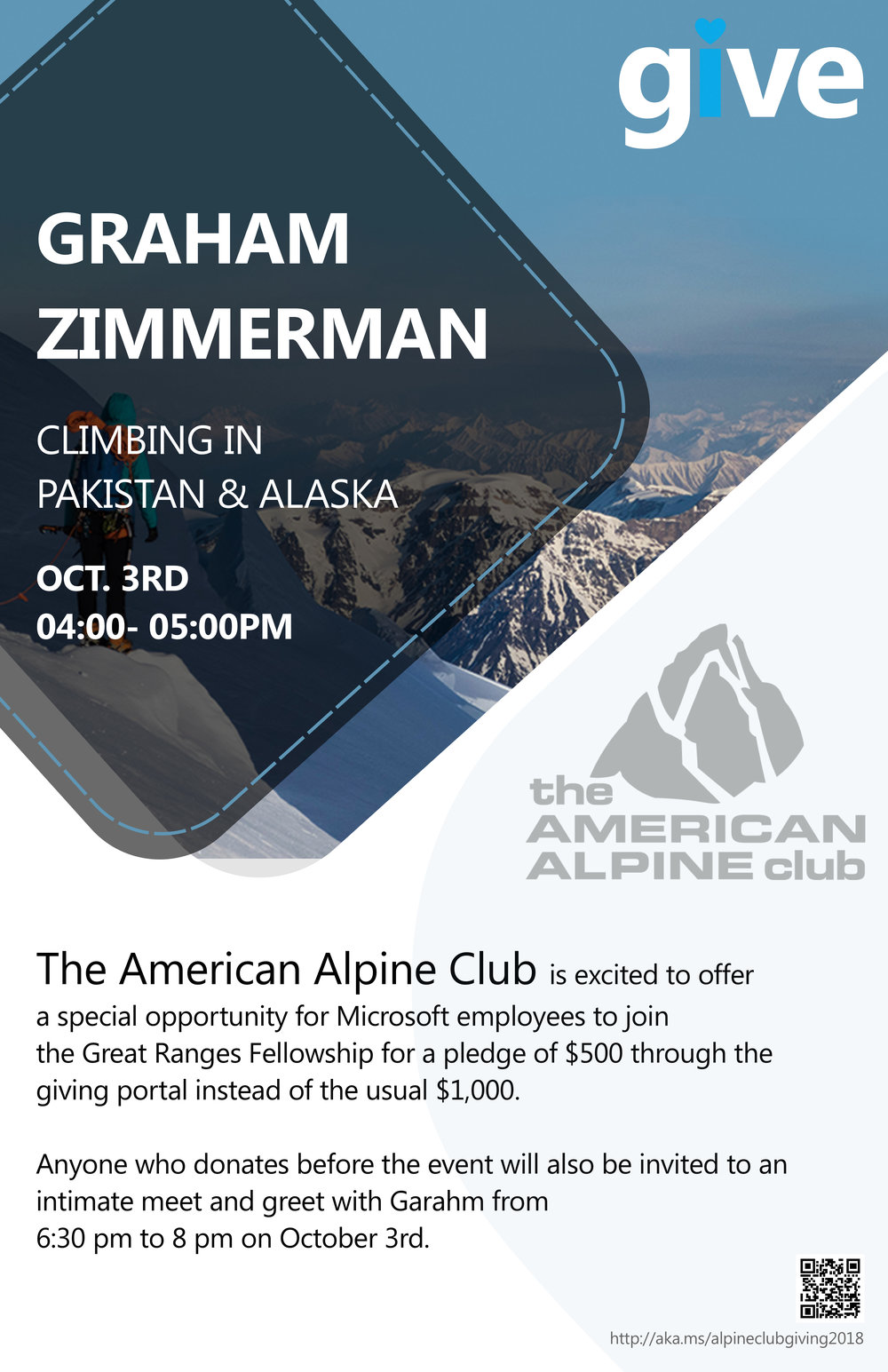 Poster made in collaboration with designers from Microsofts Office Edu Team for a special presentation by Graham Zimmerman in support of the American Alpine Club's Great Ranges Fellowship. This presentation occurred as part of  Microsofts Annual Giving Month .