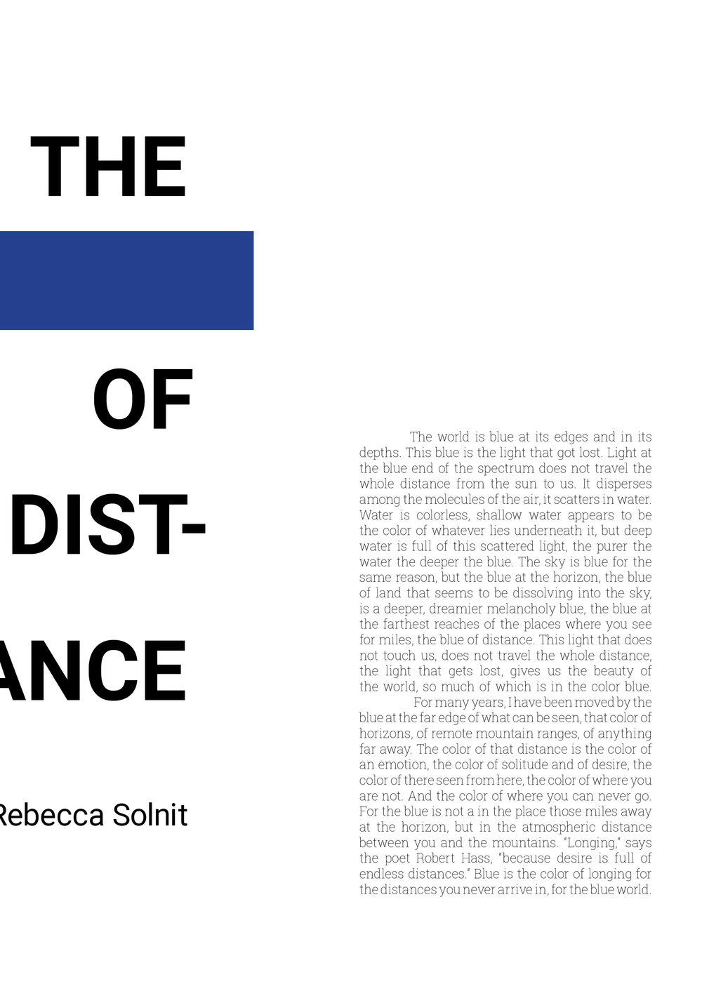 Layout design for the musings of Rebecca Solnit's The Blue of Distance. (SVC Typography Assignment)