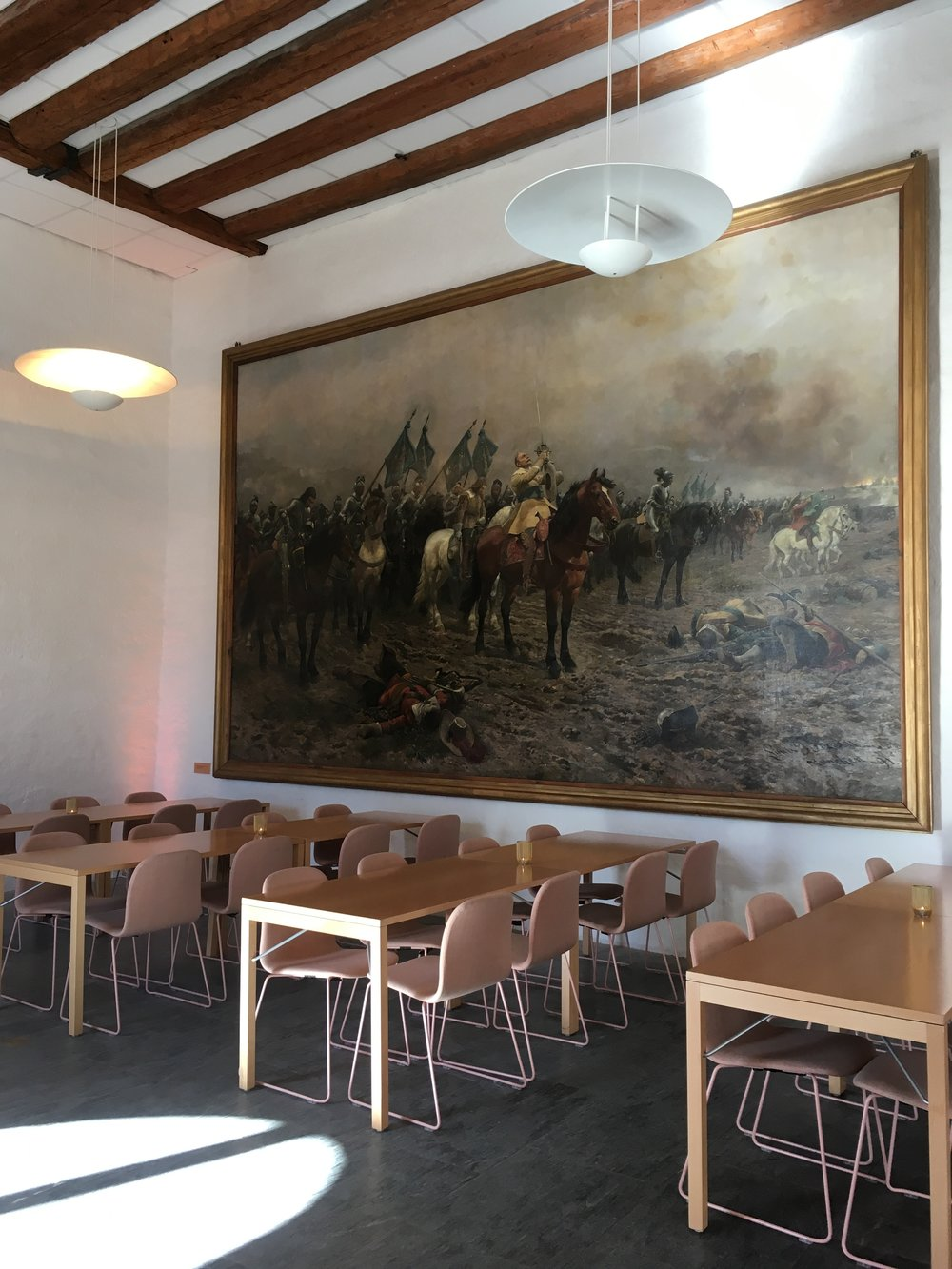 Painting in the cafe