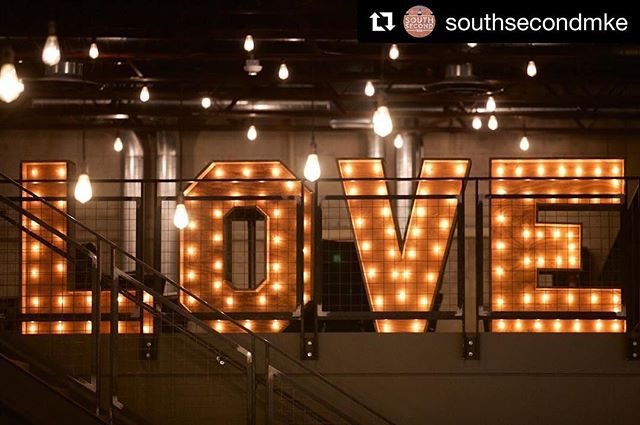 #Repost @southsecondmke with @get_repost ・・・ Everyone's favorite four-letter word. ❤️ Thanks, @ezpzmarquee, for adding that special touch to Cathleen and Ira's South Second wedding! #itsallhere | 📷: @bradryanphotography | #wedding #southsecondwedding #weddingstyle #weddingdecor #milwaukeeweddingvenue #weddings #weddingplanning #weddingvenue #love #marquee #ezpzmarquee