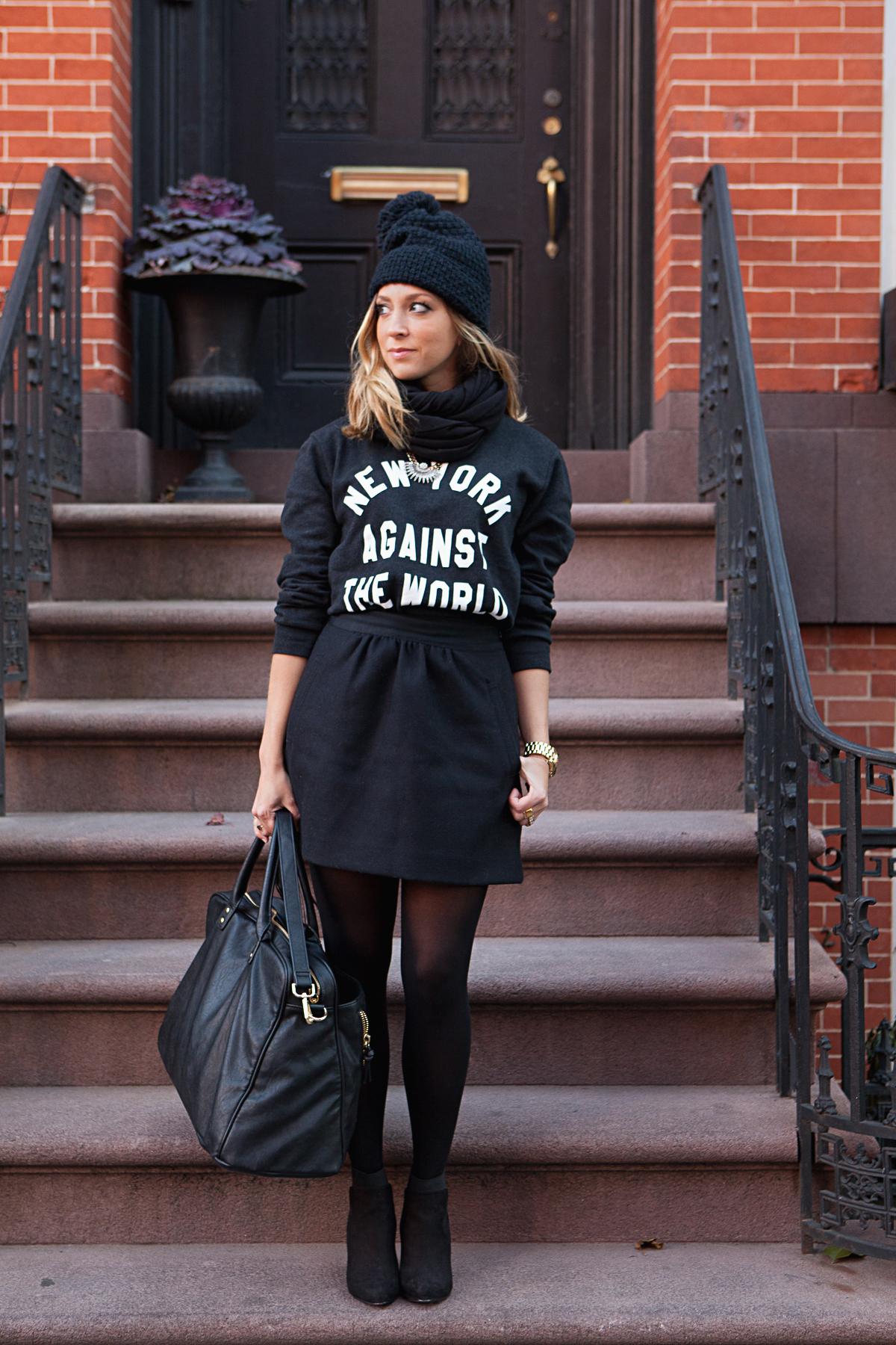 Sara Kerens, Dallas Shaw, NYC Black NYC Outfit