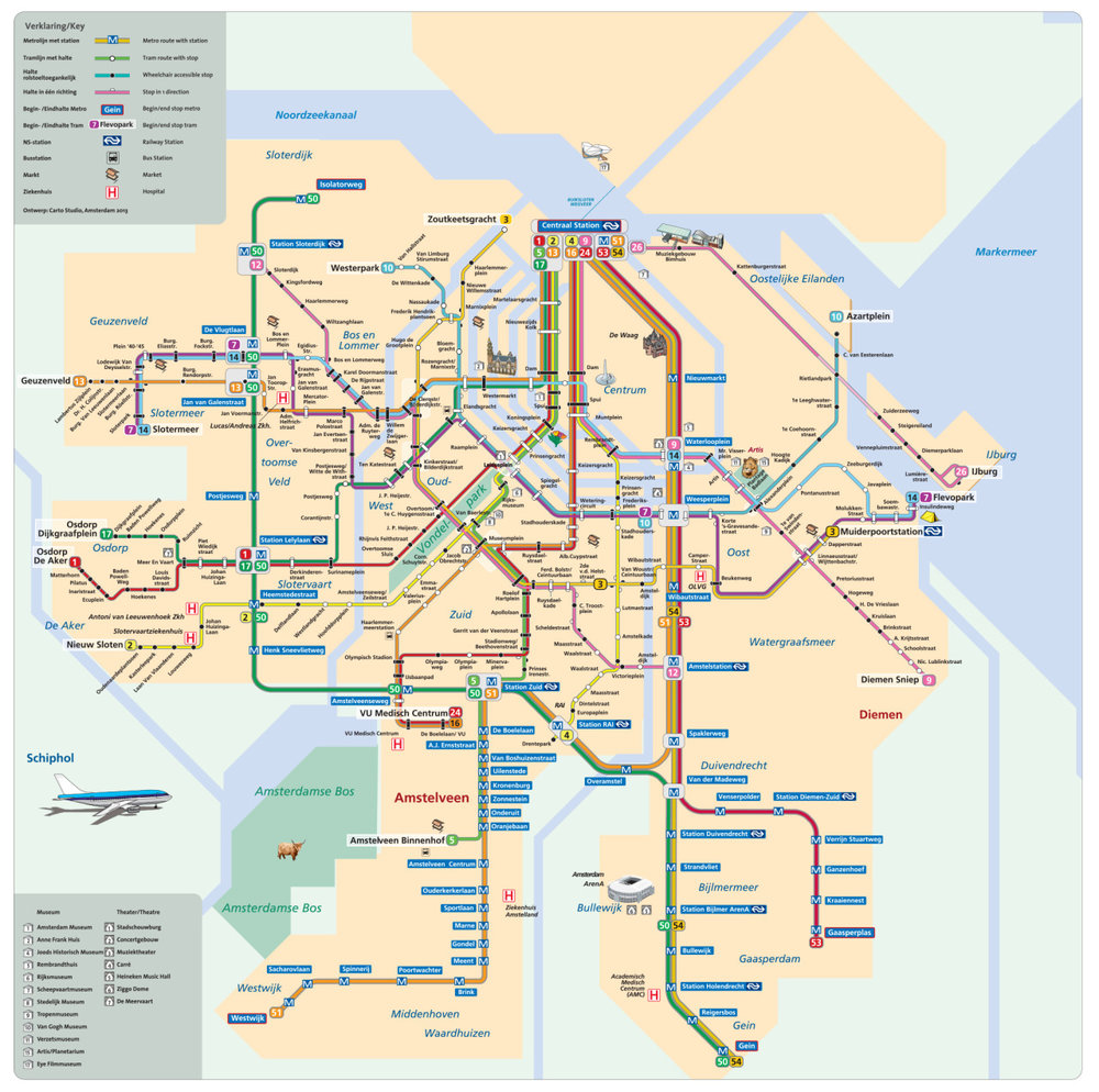 Amsterdam's map, while being a big system, still manages to make connections to other transit services obvious and clear.
