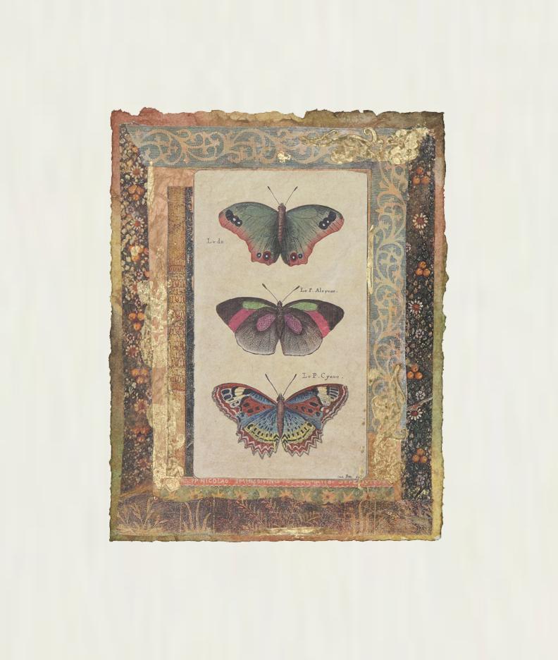 """Petits Papillons Verts  9""""x7"""""""