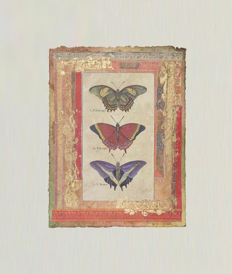 """Petits Papillons Rouges  9""""x7"""""""