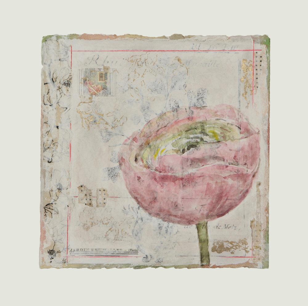 "Corolle de Renoncule Rose-Verte  12"" x 12"""