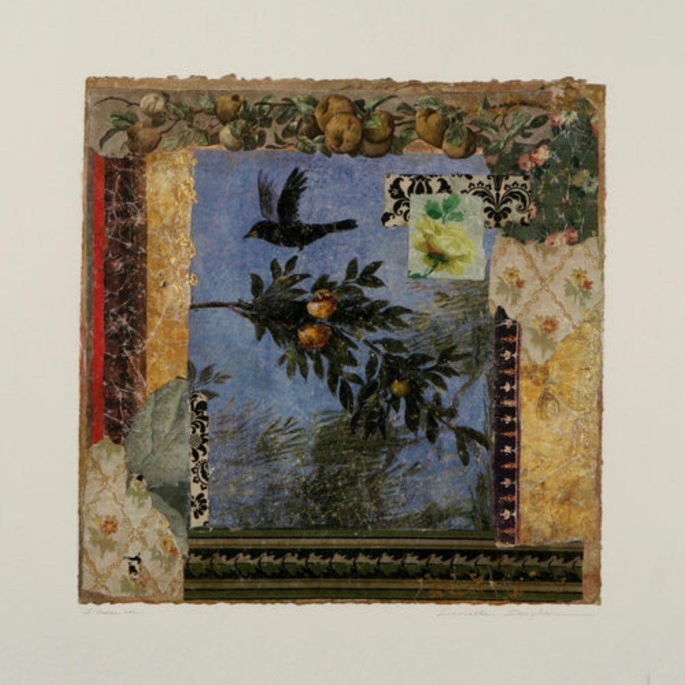 """L'oiseaux Noir  17"""" x 17"""""""