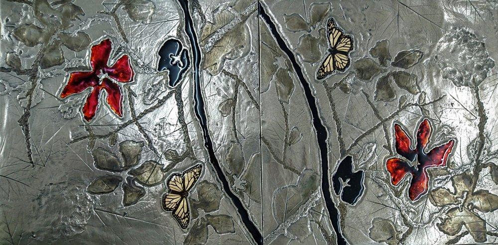 67. Dekoratyvinis pano. Reljefas dengtas platina, stiklu.