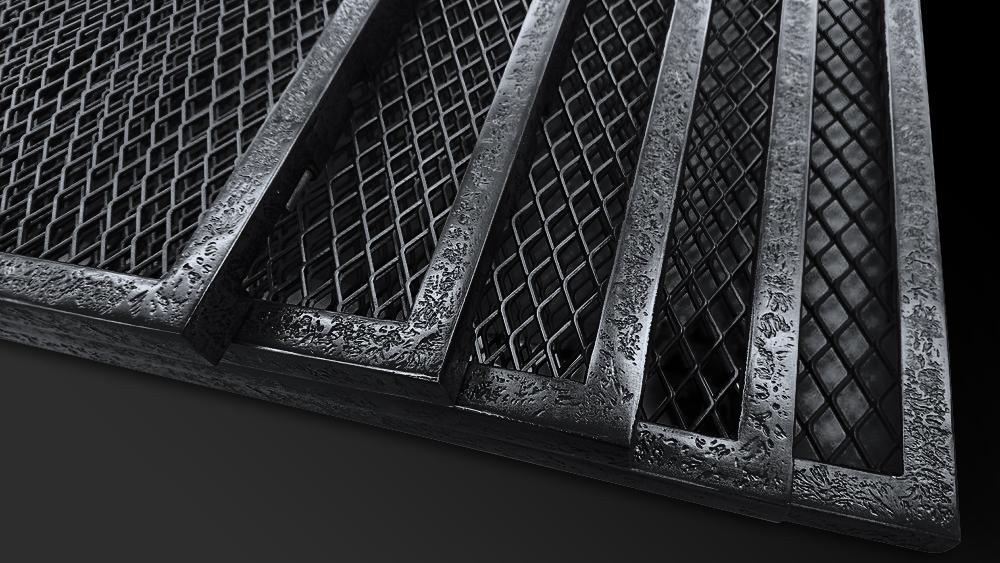 63. Patinuoto metalo reljefas suformuotas ant plieninių baldo durelių.
