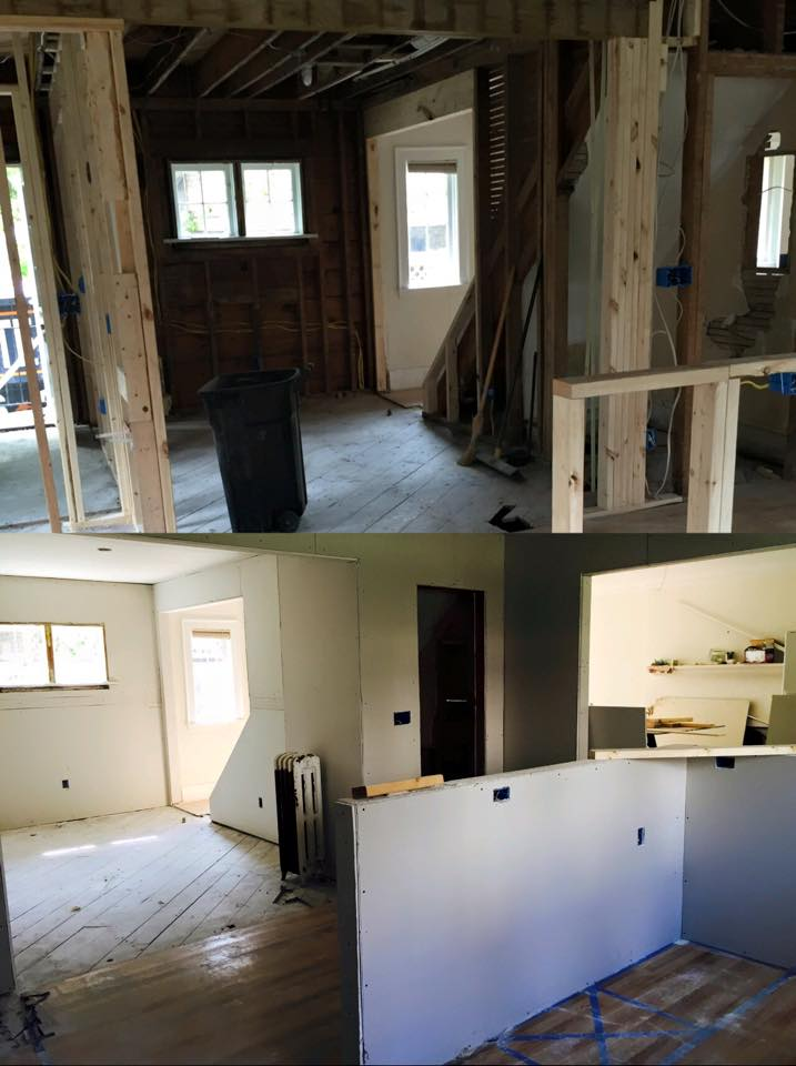 Here is a peek into the construction process of the kitchen and dining room in our fixer upper!  You can accomplish a LOT in 6 months!