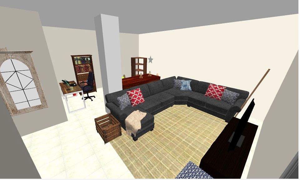 The first layout proposal for the sectional sofa. In reality, this didn't fit like we wanted, so it was time for version #2!
