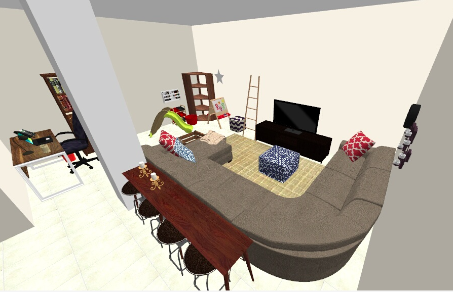This is layout proposal #2. The sofa fits perfectly in this layout, and still divides the room effectively.
