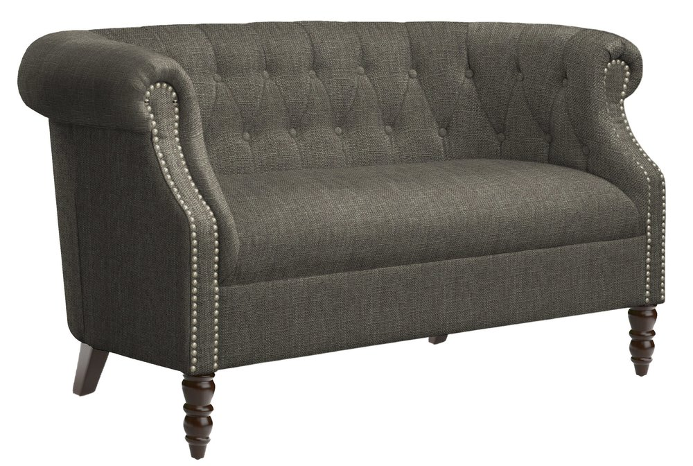 I am a sucker for the Chesterfield style of sofa, and this  Huntingdon Loveseat  is the perfect miniature version of the classic! The tufting, nailhead trim, and turned furniture feet are so handsome and charming. On sale for just under $320 it is a great investment for your space.