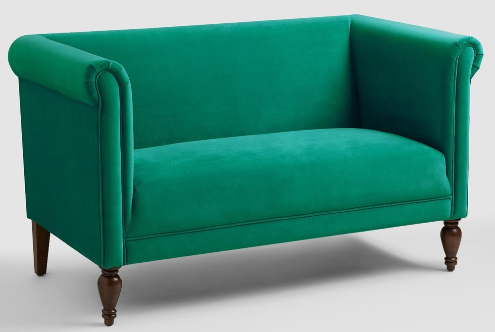Oh, what a classic beauty. This plush statement piece is dying for attention (and she gets it!!!). Perfect in a formal entry or even as the accent in a master bedroom, the  Velvet Marian Loveseat  is a winner.