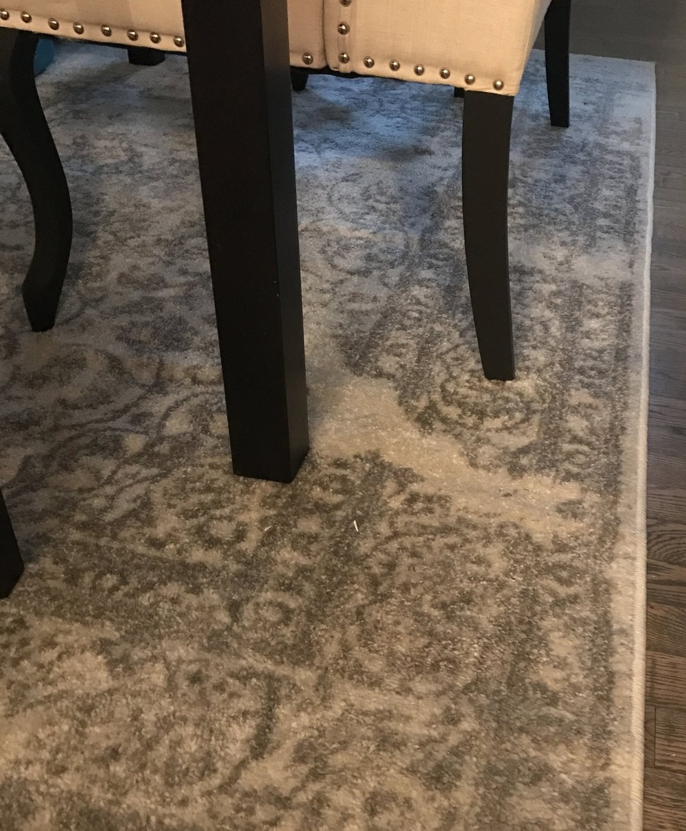 The ivory and silver rug in our dining room.