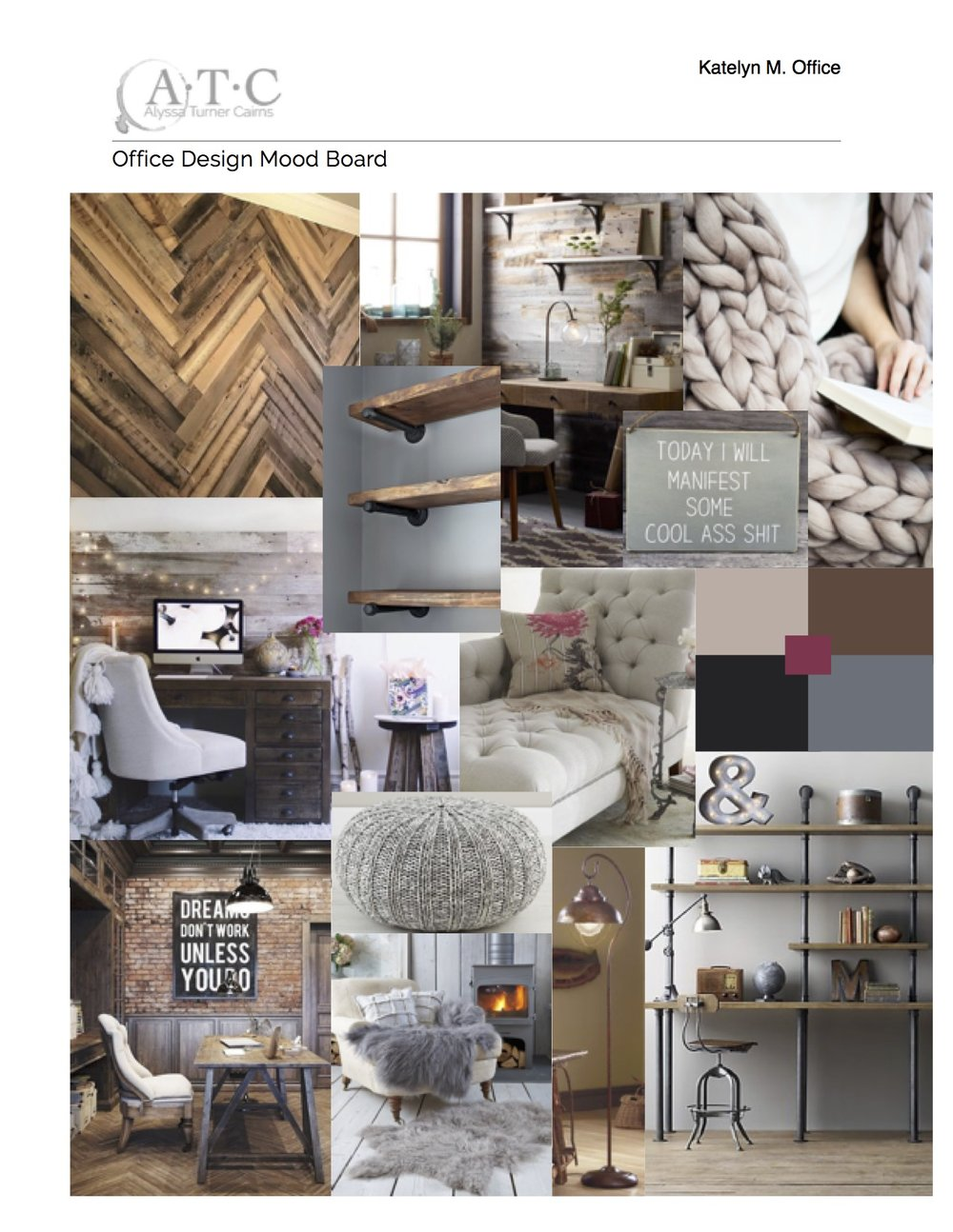 Cozy Rustic Office Mood Board: all images are not mine, and are used as part of the client consultation process.