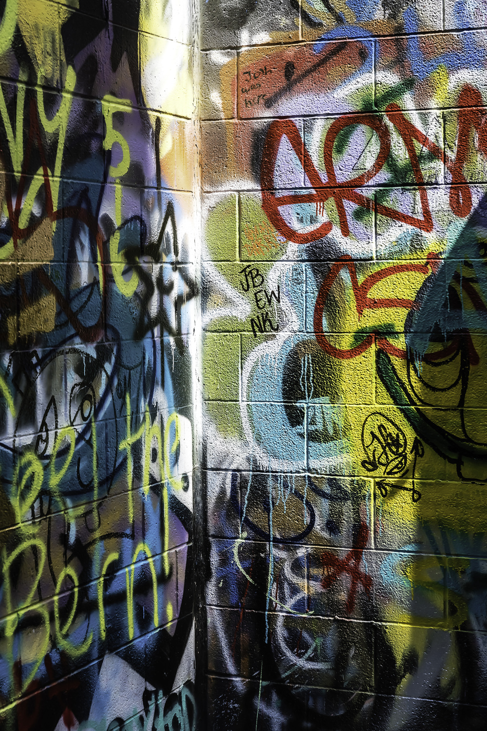 Graffiti behind the Michigan Theatre in an alley of some note in Ann Arbor. Sun and shade.