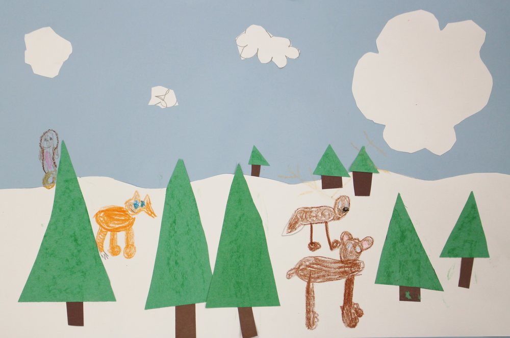First Grade: Brooke Beever (Winter Landscapes-Work in progress)