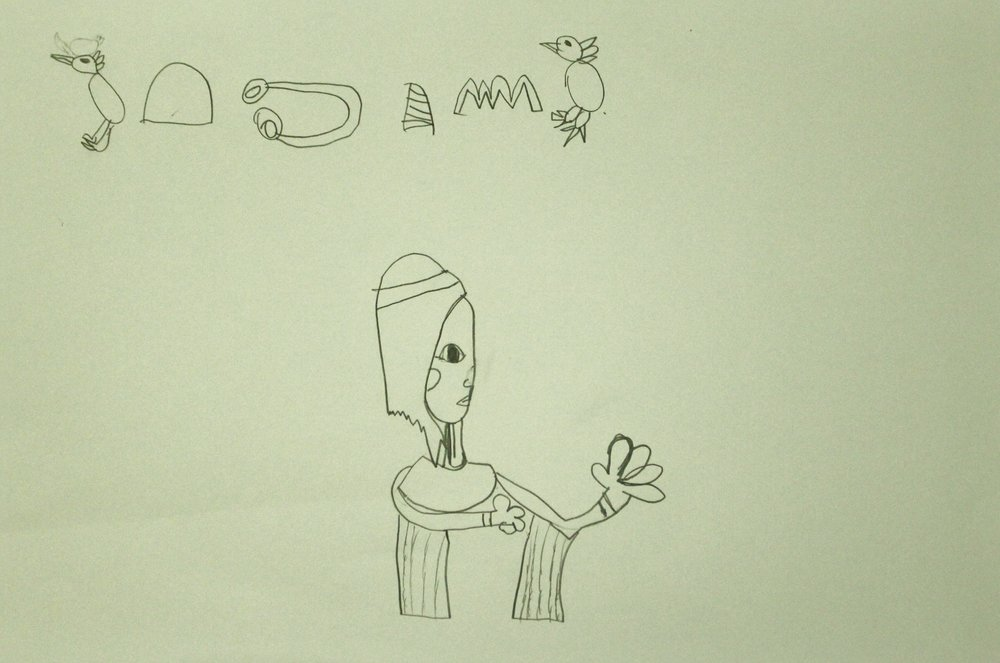 Second Grade: Athena Chamberlain (Ancient Egyptian Art: Work in Progress)