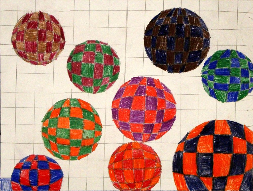 Fourth Grade: Cassidy Snodgrass (Op Art Spheres: Work in Progress)