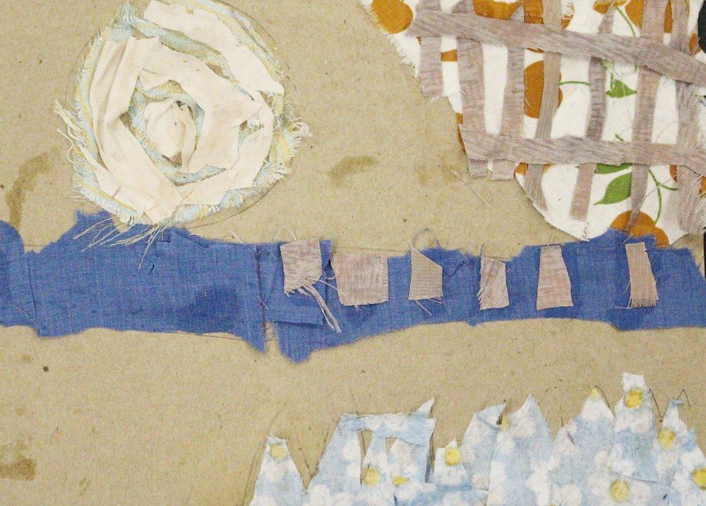 4th Grade: Jocelyn Smith- Abstract Textile Collage (Work in Progress)
