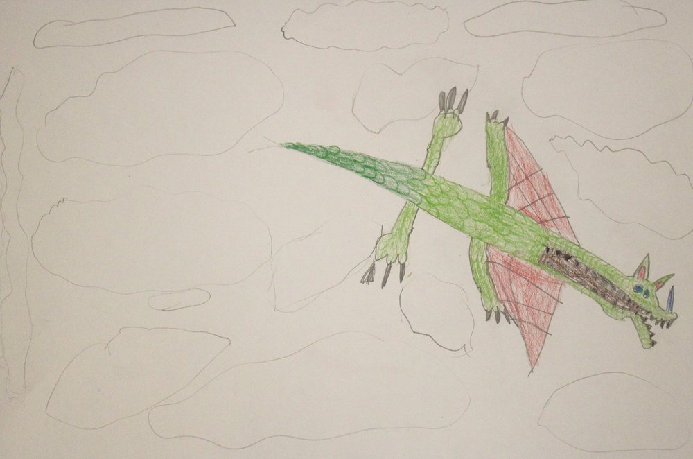 1st Grade:  Claire Rudisill (Textured Dragon-Work in progress)
