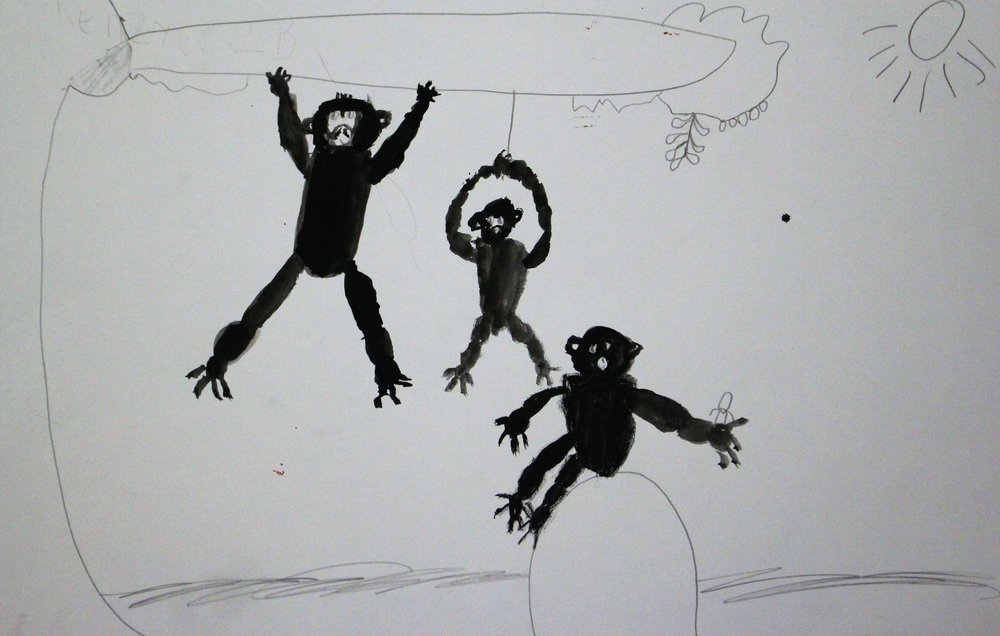 2nd Grade: Kenzyee R. - Artwork: Monkeys in Motion: Wang Yani(Work In Progress)