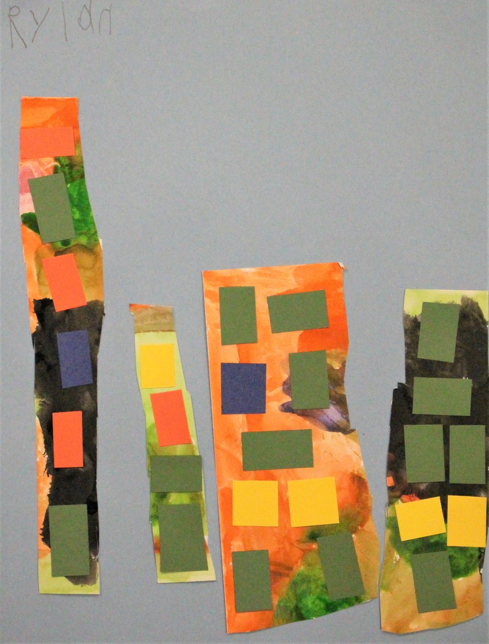 Kindergarten: Rylan S. - Artwork: Painted Paper City(Work in Progress)