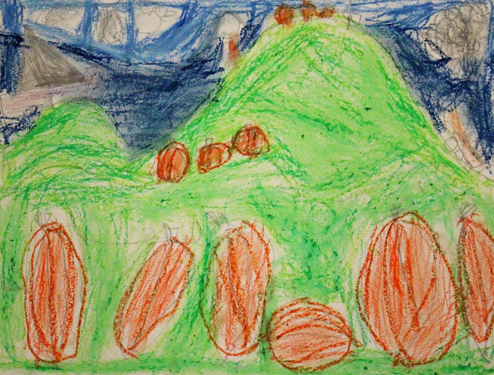 1st Grade: Kimberly C. - Artwork: Landscapes: Pumpkin Patch