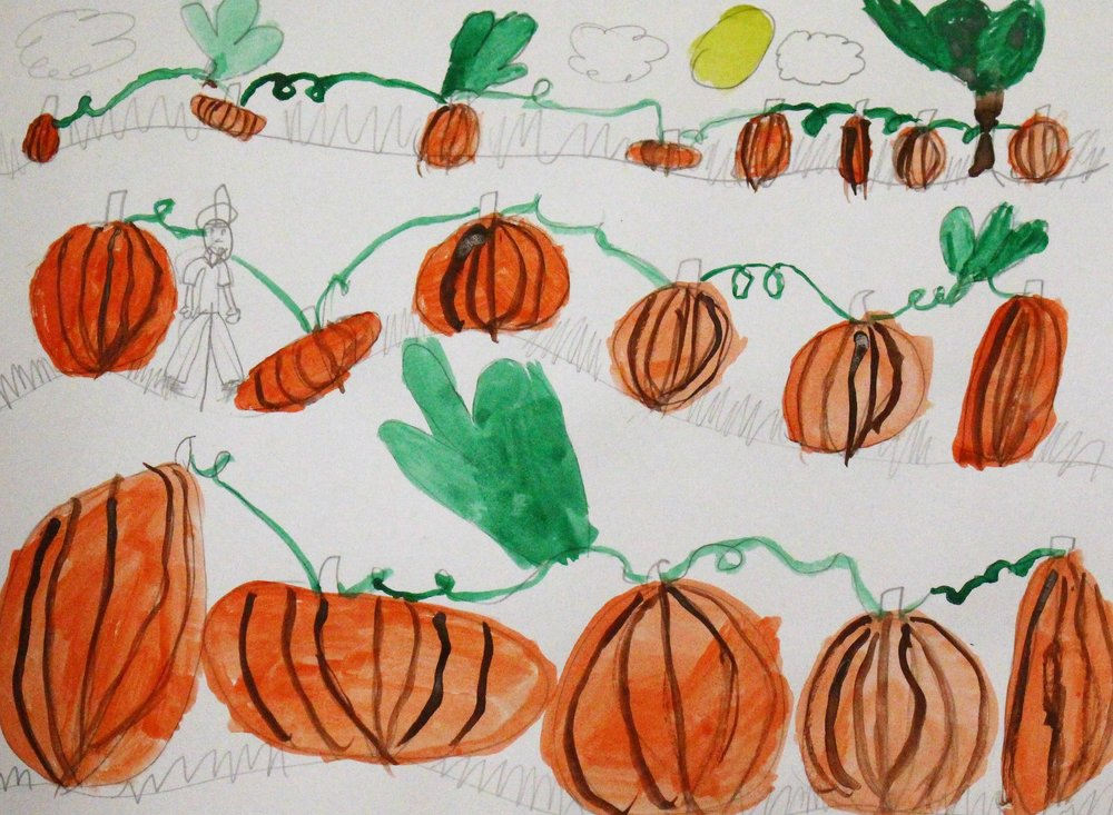 2nd Grade: Adalyn S. - Artwork: Landscapes-Pumpkin Patch(Work in Progress)