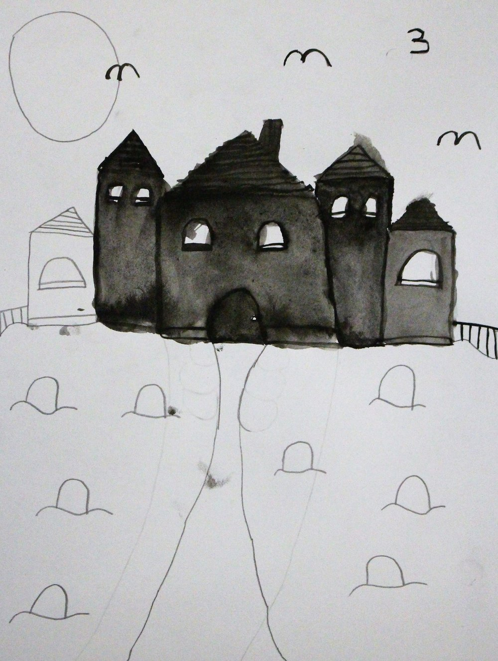 5th Grade: Avalin B. - Artwork: Spooky Victorian Home Silhouette(Work in Progress)