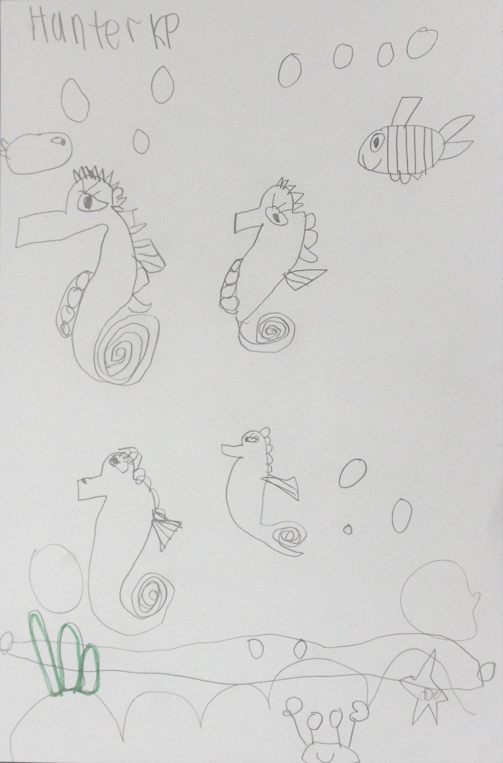 Kindergarten: Hunter W. - Art inspired by the story, Mister Seahorse by Eric Carle (Work In Progress)