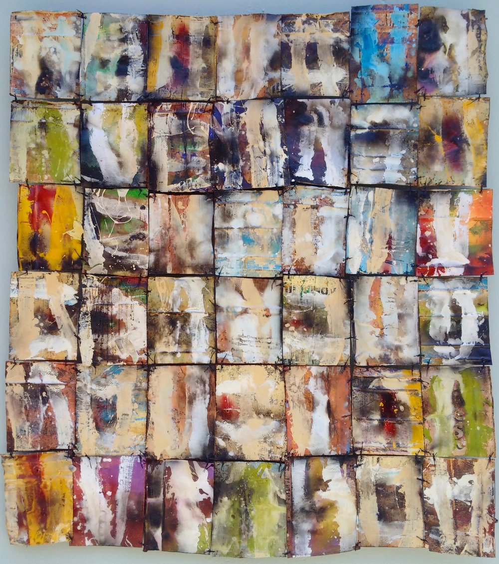 From the series:  Contruyendo   Mi Silencio , 2016    Acrylic on found metals,    210 cm x 196 cm