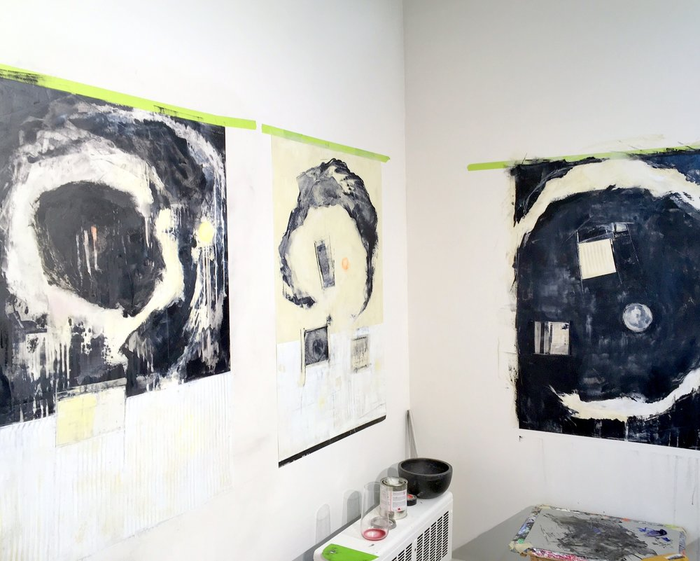 Works in progress in my Vancouver Studio - Responses i, II and III  - Oil and cold wax on double sided technical paper. A messy process!