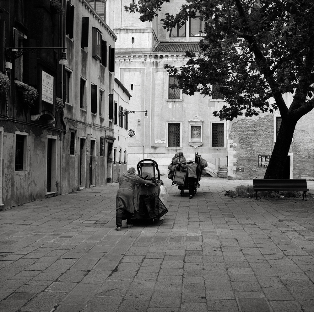 Man and Woman with Carts, Venice