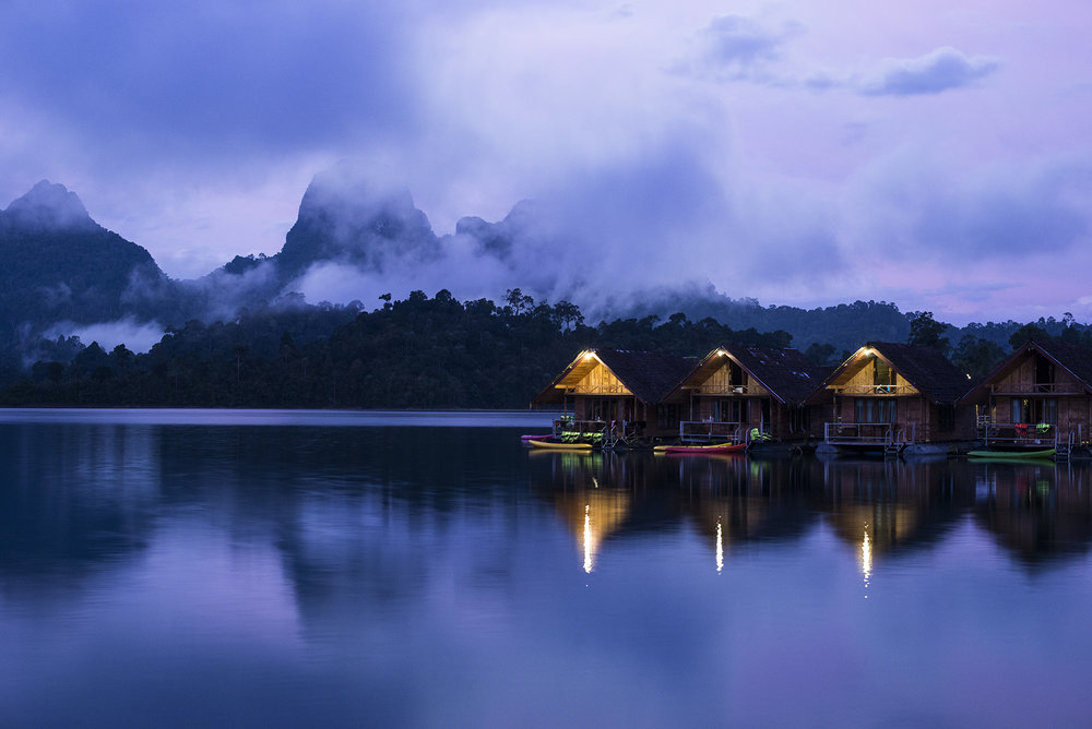 The floating houses in the VERY early morning