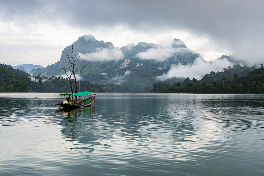 Longboat in the morning mists