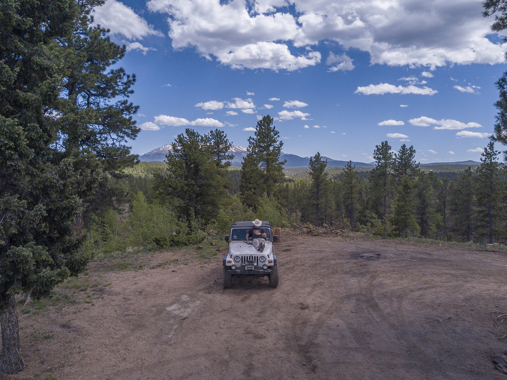 Out with my Jeep and my Mavic Pro in the middle of nowhere, Pike National Forest.
