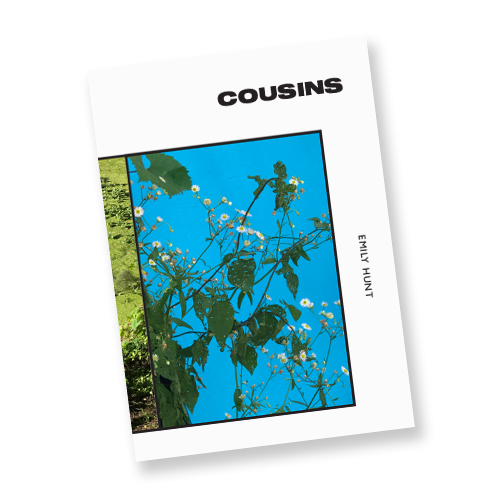 COUSINS - Cold Cube Press, 2019ORDER HERE.40 pages4 color risograph2019Cousins is a collection of photo-couplets by New York based poet Emily Hunt. Each spread contains two photos in conversation with each other—brief glimpses from walks and commutes in New York, San Francisco, Oakland, Vermont, Massachusetts, and Providence. Printed in two different palettes, this book exists in the liminal space between poetry chapbook and photo essay.