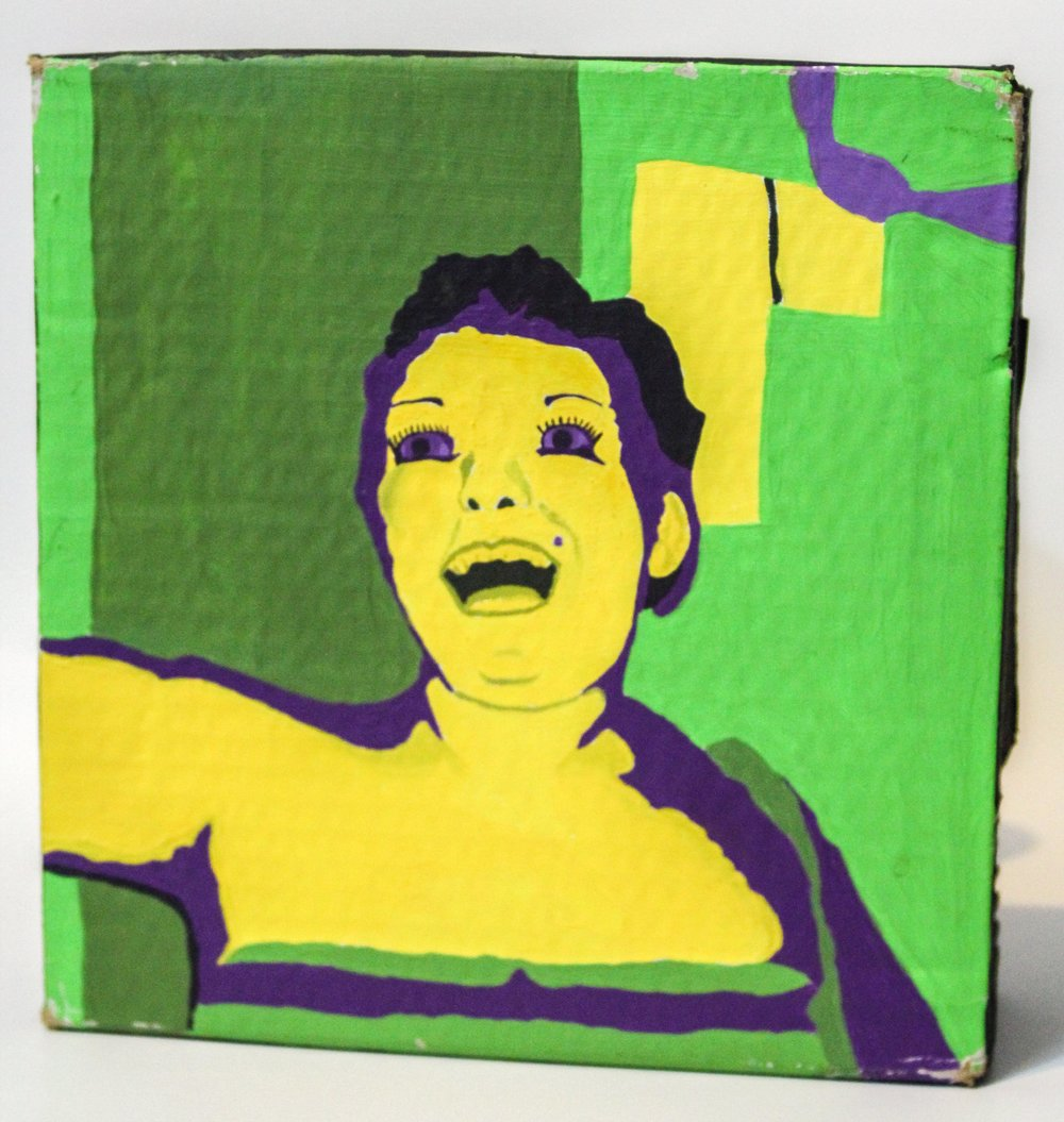 Self Portrait in complimentary colors  acrylic on cardboard