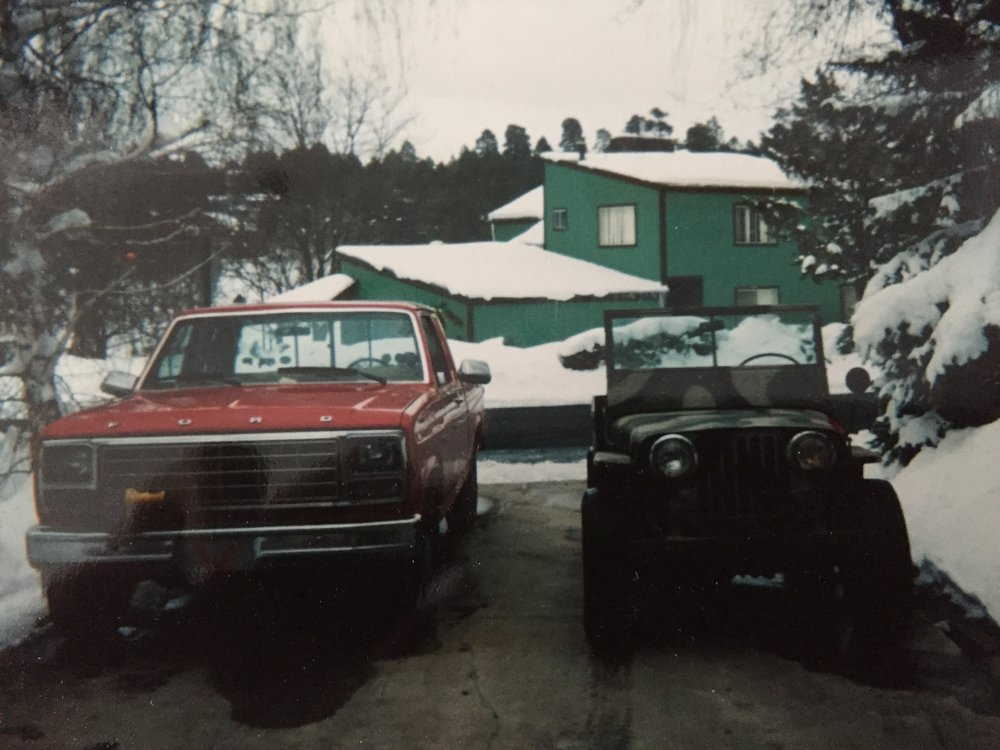 The truck that started it all - the 1980 Ford F-150 (right) and our 1948 Jeep CJ-2a. ca: 1998
