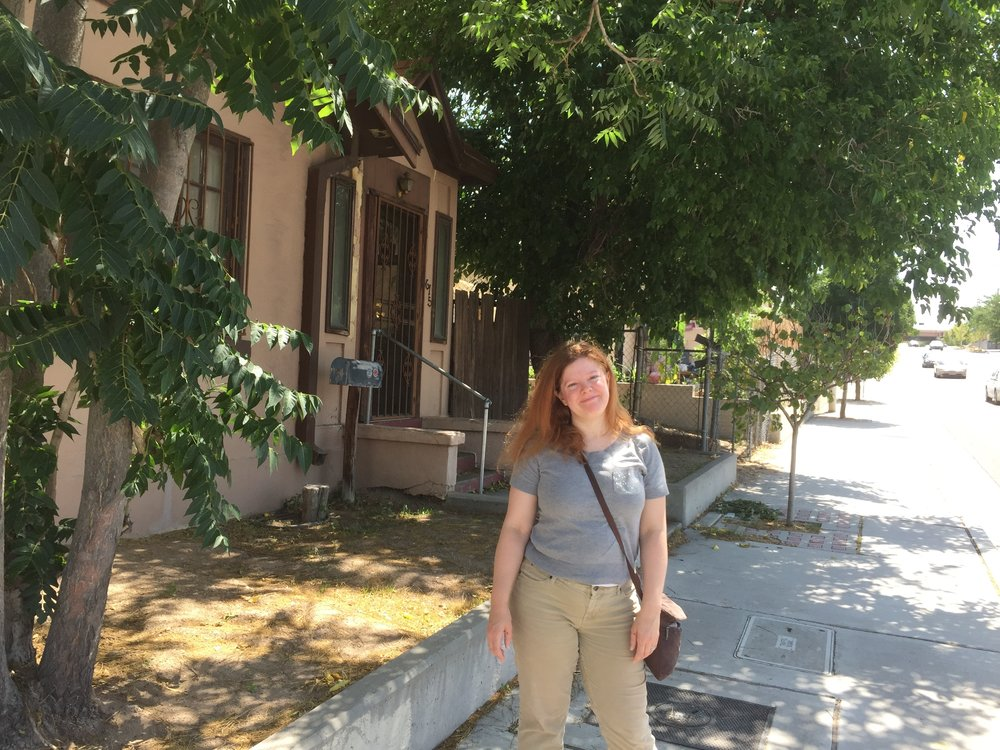 Melly in front of her old house in Albuquerque (she lived there in ~'97). Picture ca: 2015